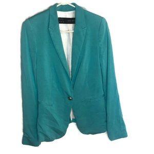Zara basics blue green blazer jacket size small